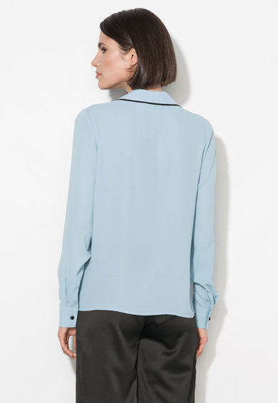 Zee Lane Collection Camasa albastru pastel cu garnituri negre Femei