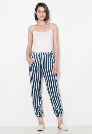 Zee Lane Collection Pantaloni matasosi albastru inchis cu alb in dungi Femei