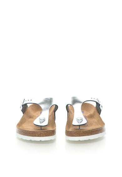 Birkenstock Сребристи кожени чехли със стандартна ширина Жени