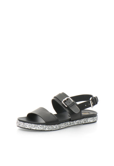 Buffalo Sandale negre cu particule stralucitoare argintii Femei