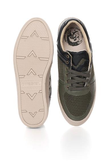 Diesel Pantofi sport de piele Spaark, Negru/Verde oliv Barbati