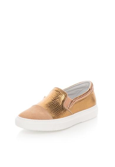 Zee Lane Pantofi slip-on roz prafuit cu auriu de piele si piele intoarsa Femei