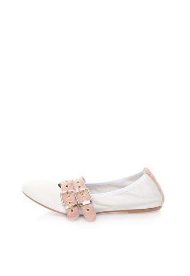 Zee Lane Milva Fehér&Rózsaszín Bőrcipő Nyersbőr Szegélyekkel női
