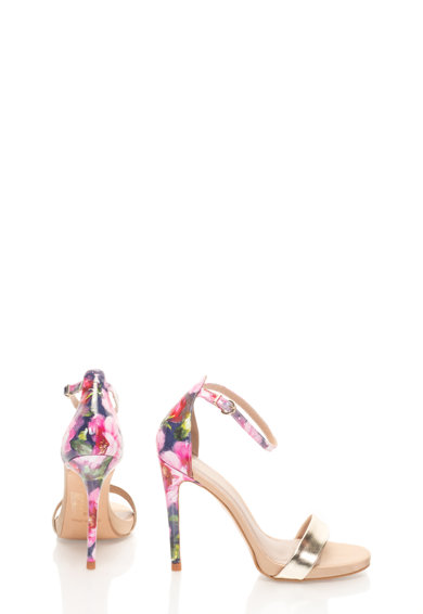 Roberto Botella Sandałe aurii cu imprimeu floral Femei