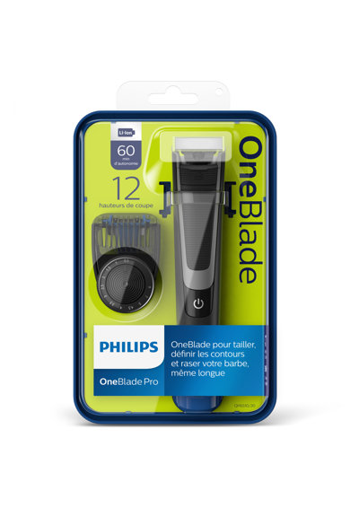 Philips Електрическа самобръсначка  OneBlade Pro QP6510/20, Хибриден уред за подстригване/оформяне/бръснене на брада, Батерия Мъже