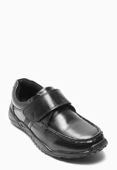 NEXT Pantofi negri de piele cu banda velcro Baieti