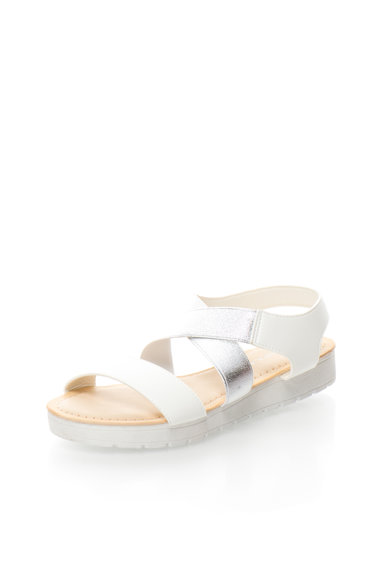 Oakoui Sandale flatform alb cu argintiu Camelia Femei