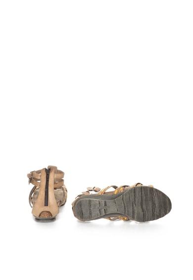 Zee Lane Sandale taupe cu galben lamaie de piele cu bareta pe glezna Femei