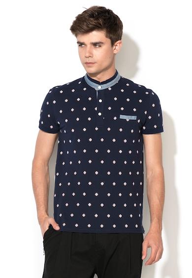 Zee Lane Denim Тениска от пике с яка и детайли от шамбре Мъже