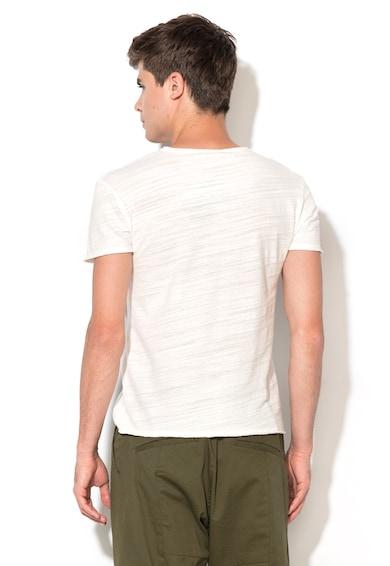 Zee Lane Denim Тениска в бял меланж с джоб на гърдите Мъже