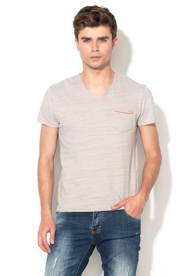 Zee Lane Denim Тениска в светлосив меланж с джоб на гърдите Мъже