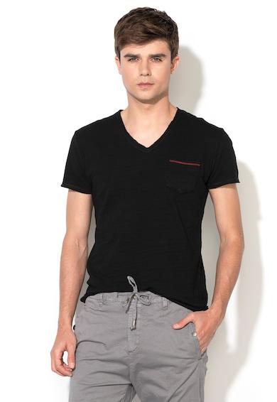 Zee Lane Denim Тениска в черен меланж с джоб на гърдите Мъже