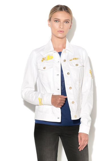 Versace Jeans Fehér Farmerkabát Grafikai Mintával női