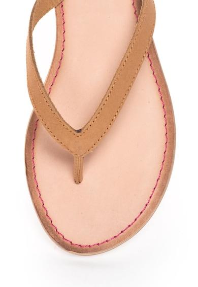 Gioseppo Papuci flip-flop maro de piele cu snururi Decore Femei