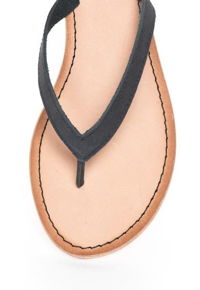 Gioseppo Papuci flip-flop negri de piele cu snururi detasabile Decore Femei
