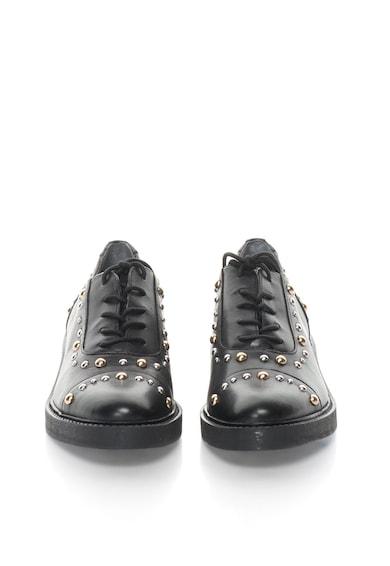 Guess Черни кожени обувки Oxford с капси Жени