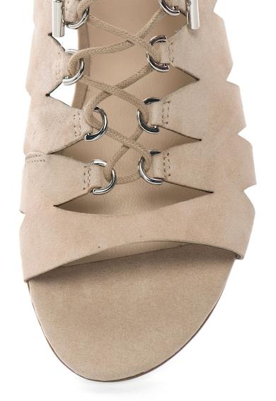 Guess Sandale bej de piele intoarsa cu decupaje si talpa plata Femei