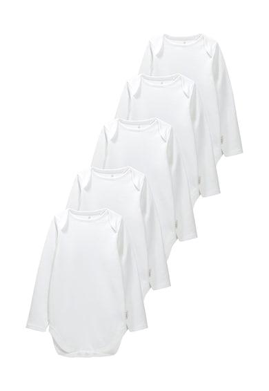 NEXT Set de body-uri albe cu maneci lungi - 5 piese Fete