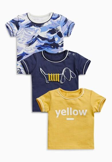 NEXT Set de tricouri in nuante de albastru cu galben - 3 piese Baieti