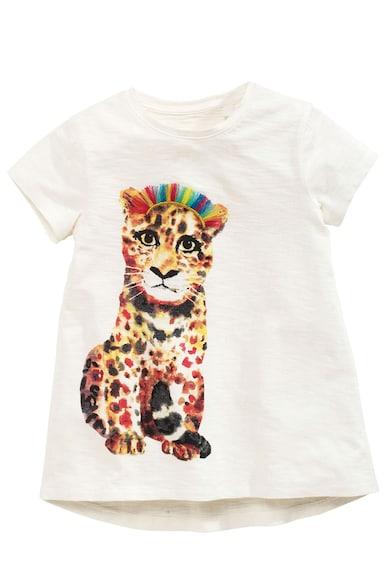 NEXT Tricou alb cu imprimeu leopard Fete