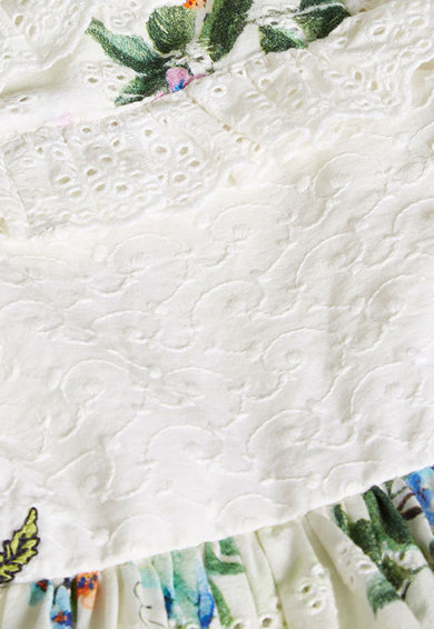 NEXT Rochie alba cu imprimeu floral si broderie Fete