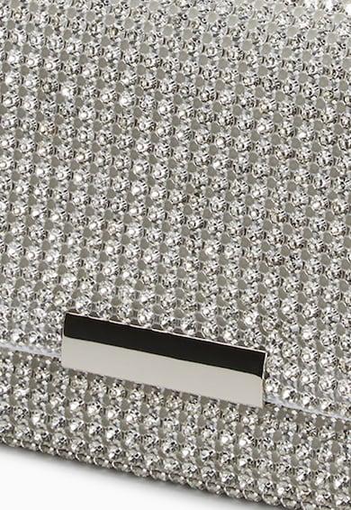NEXT Geanta plic argintie cu strasuri Femei