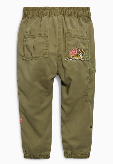 NEXT Детски панталон карго в каки с бродерии Момичета