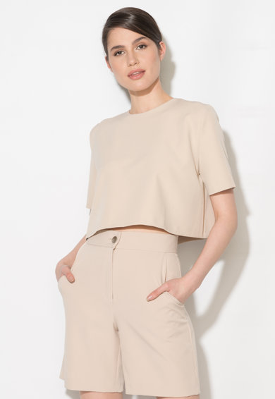 Zee Lane Collection Bluza crop bej Femei