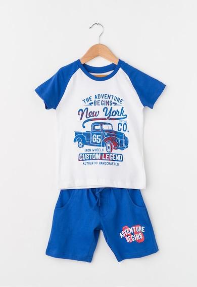 Zee Lane Kids Set alb cu albastru de tricou si pantaloni scurti Baieti