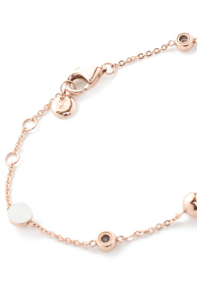 Skagen Bratara auriu rose cu margele albe si cristale 0 Femei