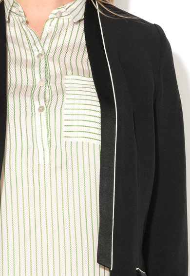 Sisley Sacou negru cu garnituri de satin Femei