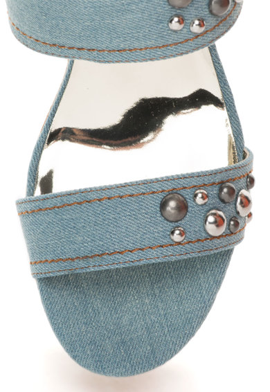 Replay Sandale wedge albastru prafuit din denim Serne Femei