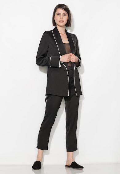 Zee Lane Collection Sacou negru fara inchidere si cu garnituri albe Femei