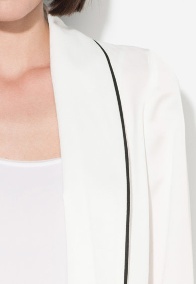Zee Lane Collection Бяло сако без закопчаване с черни детайли Жени