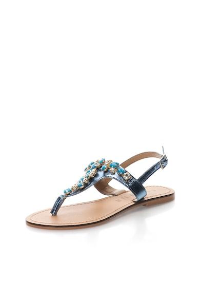 Oakoui Sandale albastru metalizat de piele cu bareta in forma de T Femei