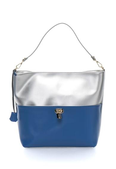 Zee Lane Collection Kожена чанта в сребристо и синьо Жени