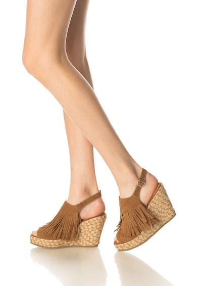 Colors of California Велурени сандали на скосена платформа Жени