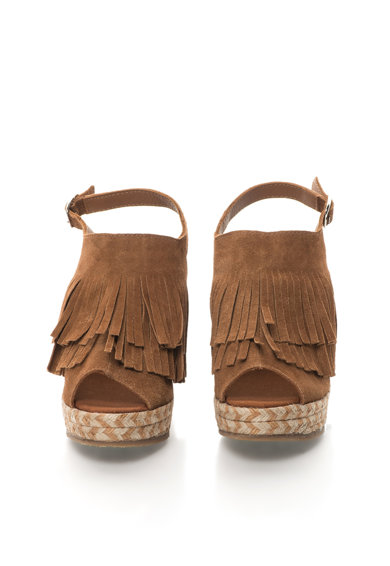 Colors of California Sandale slingback wedge maro de piele intoarsa Femei