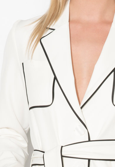 Zee Lane Collection Sacou alb unt cu garnituri negre Femei