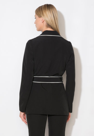 Zee Lane Collection Sacou negru cu garnituri albe Femei