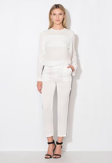 Zee Lane Collection Fehér Nadrág Fekete Részletekkel női
