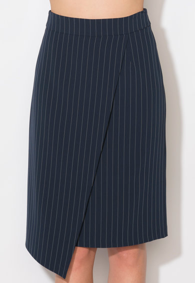 Zee Lane Collection Fusta bleumarin asimetrica cu dungi albe Femei