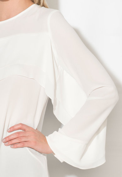 Zee Lane Collection Bluza alba cu volane Femei