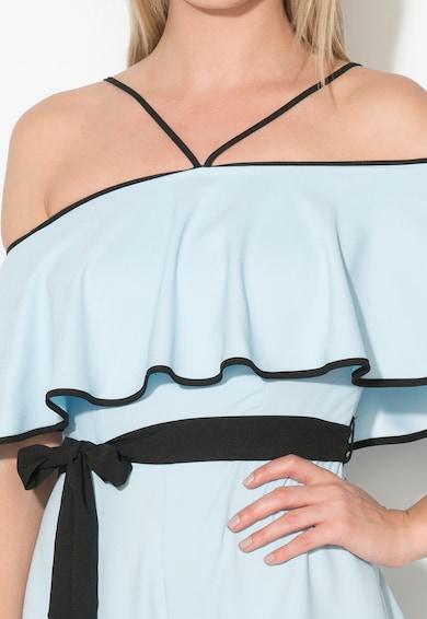 Zee Lane Collection Salopeta scurta bleu cu negru cu decolteu pe umeri Femei