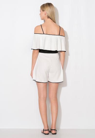 Zee Lane Collection Salopeta scurta alb cu negru cu decolteu pe umeri Femei