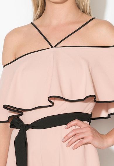 Zee Lane Collection Salopeta scurta roz prafuit cu negru cu decolteu pe umeri Femei
