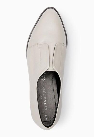NEXT Pantofi flatform albi de piele cu clapa Femei