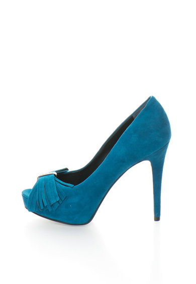 Guess Pantofi peep-toe albastru teal de piele intoarsa Femei