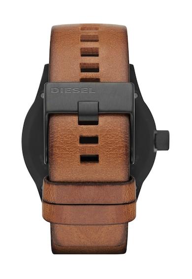 Diesel Черен часовник с кафява кожена каишка Мъже
