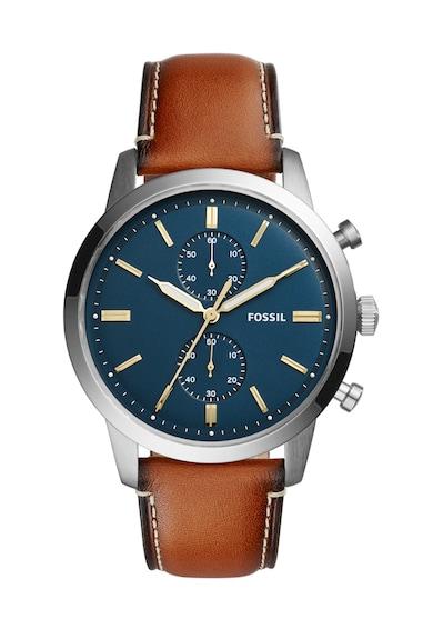 Fossil Сребрист часовник с кафява кожена каишка Мъже